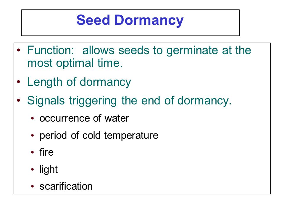 Seed Dormancy Function: allows seeds to germinate at the most optimal time. Length of dormancy. Signals triggering the end of dormancy.
