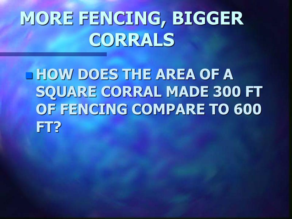 MORE FENCING, BIGGER CORRALS