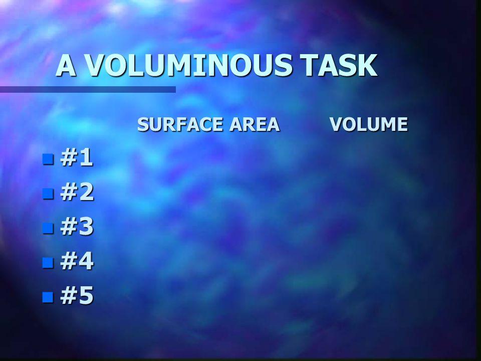A VOLUMINOUS TASK SURFACE AREA VOLUME #1 #2 #3 #4 #5