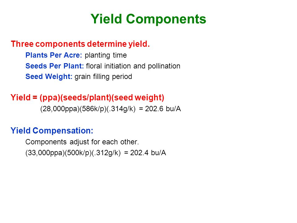 Yield Components Three components determine yield.