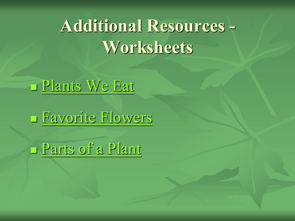 Additional Resources - Worksheets