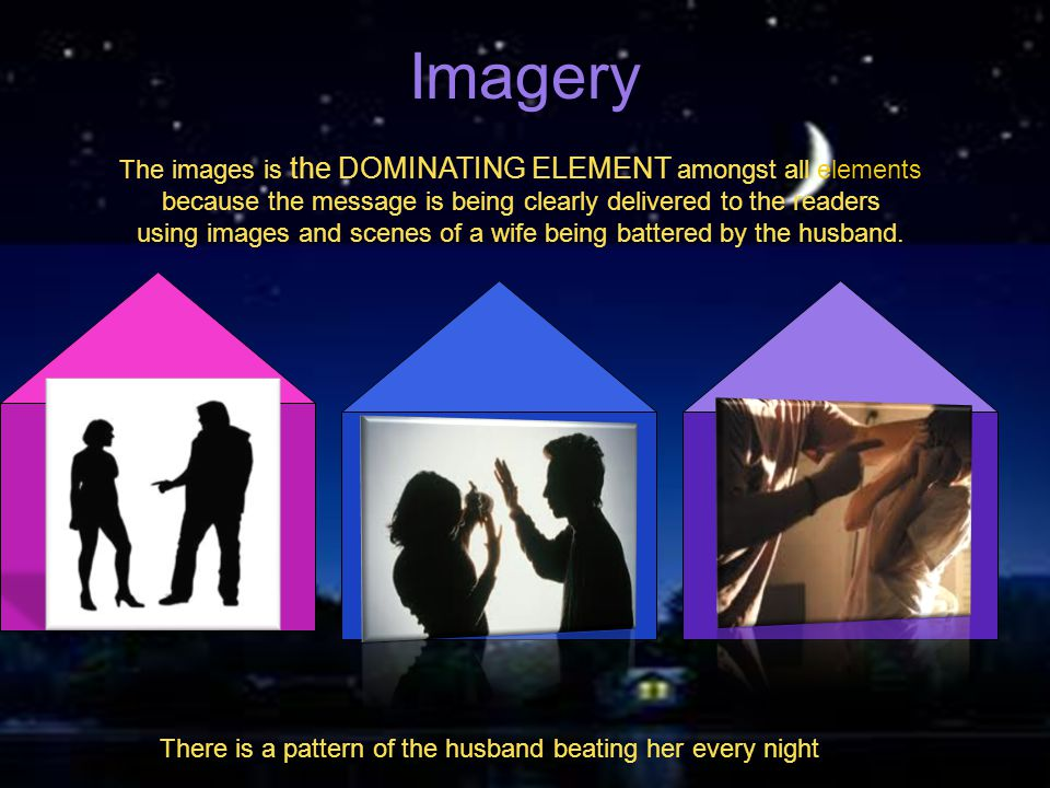 Imagery The images is the DOMINATING ELEMENT amongst all elements