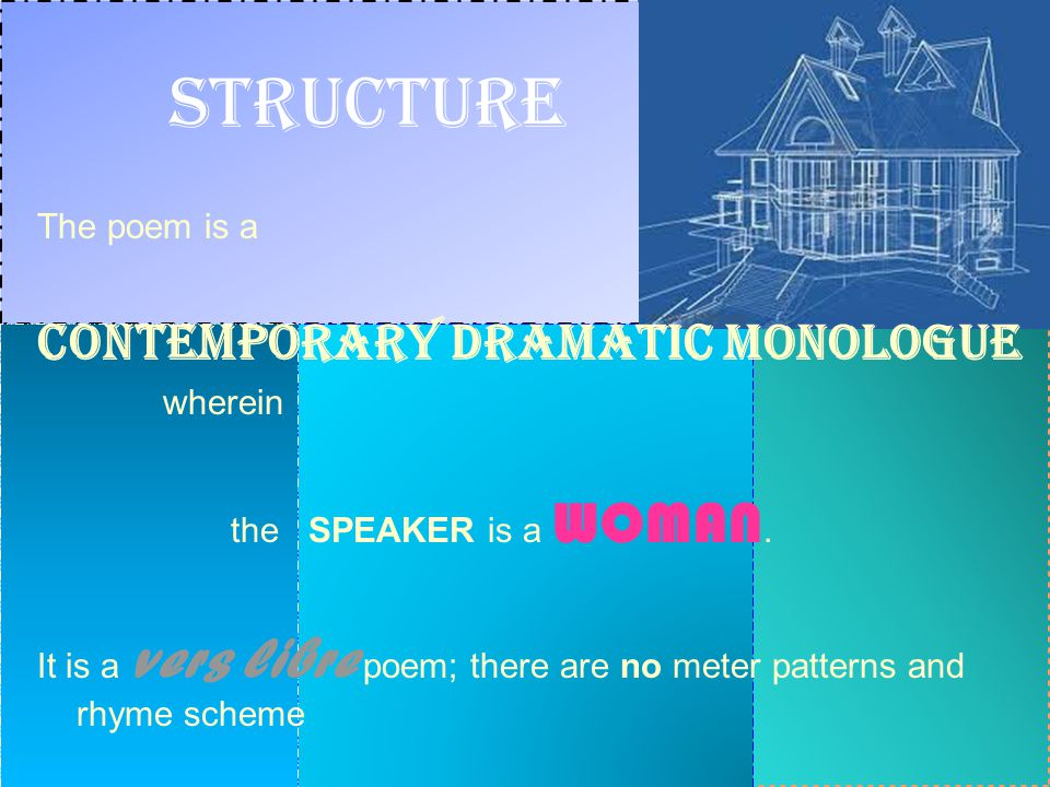 Structure Contemporary Dramatic Monologue The poem is a wherein