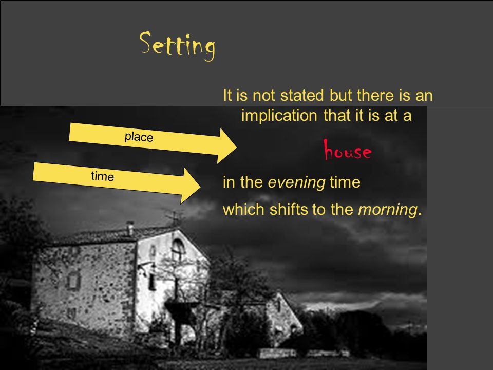 Setting It is not stated but there is an implication that it is at a. house. in the evening time.