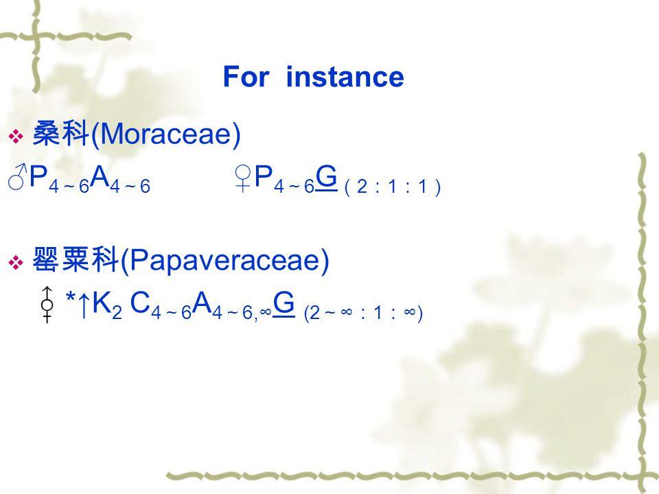 For instance 桑科(Moraceae) ♂P4~6A4~6 ♀P4~6G(2:1:1) 罂粟科(Papaveraceae) *↑K2 C4~6A4~6,∞G (2~∞:1:∞)