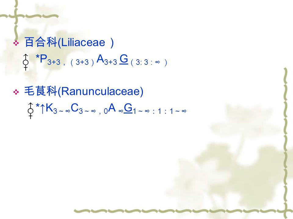 百合科(Liliaceae ) *P3+3,(3+3)A3+3 G(3: 3 : ∞ ) 毛茛科(Ranunculaceae) *↑K3~∞C3~∞,0A ∞G1~∞:1:1~∞