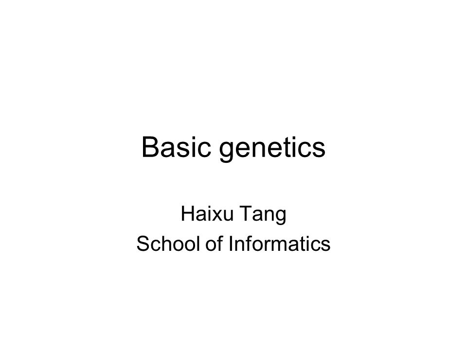 Haixu Tang School of Informatics
