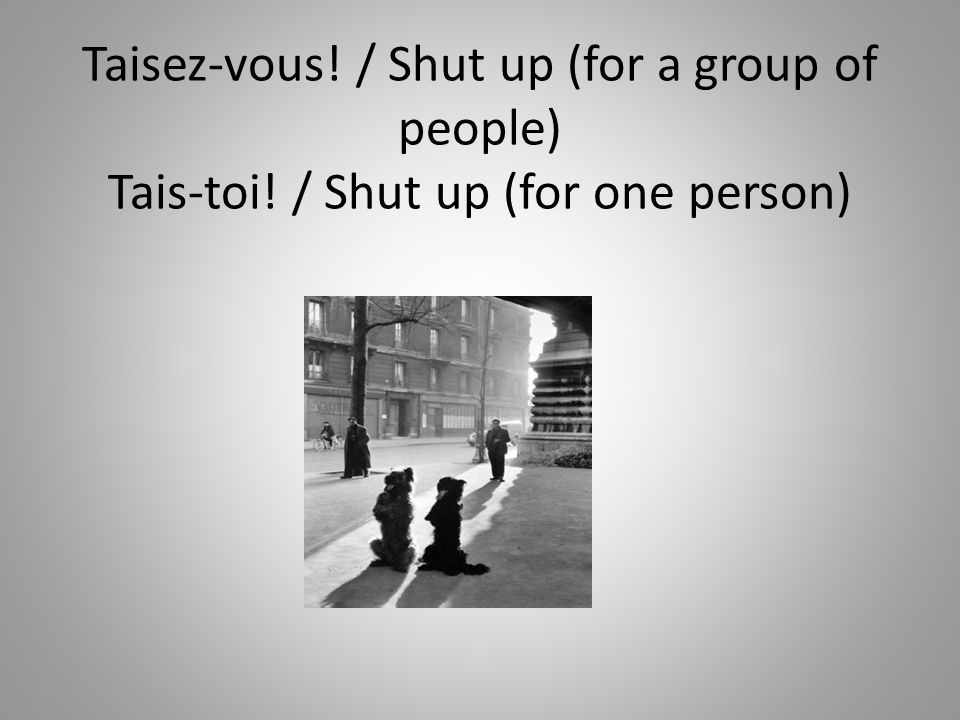 Taisez-vous. / Shut up (for a group of people) Tais-toi