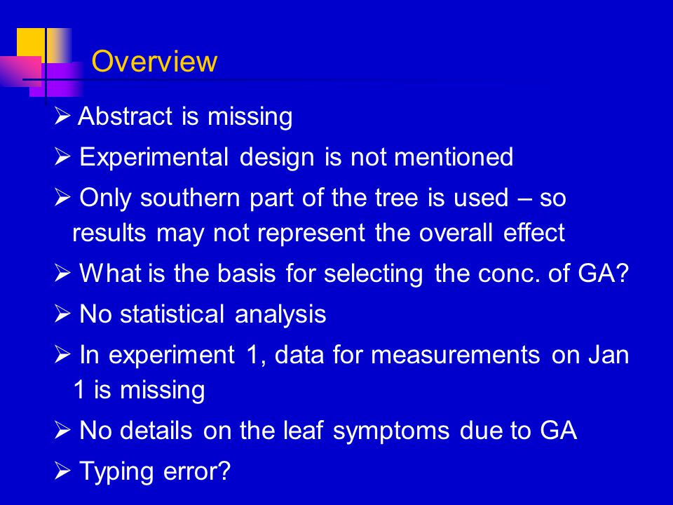 Overview Abstract is missing Experimental design is not mentioned