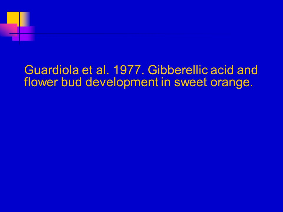Guardiola et al. 1977. Gibberellic acid and flower bud development in sweet orange.