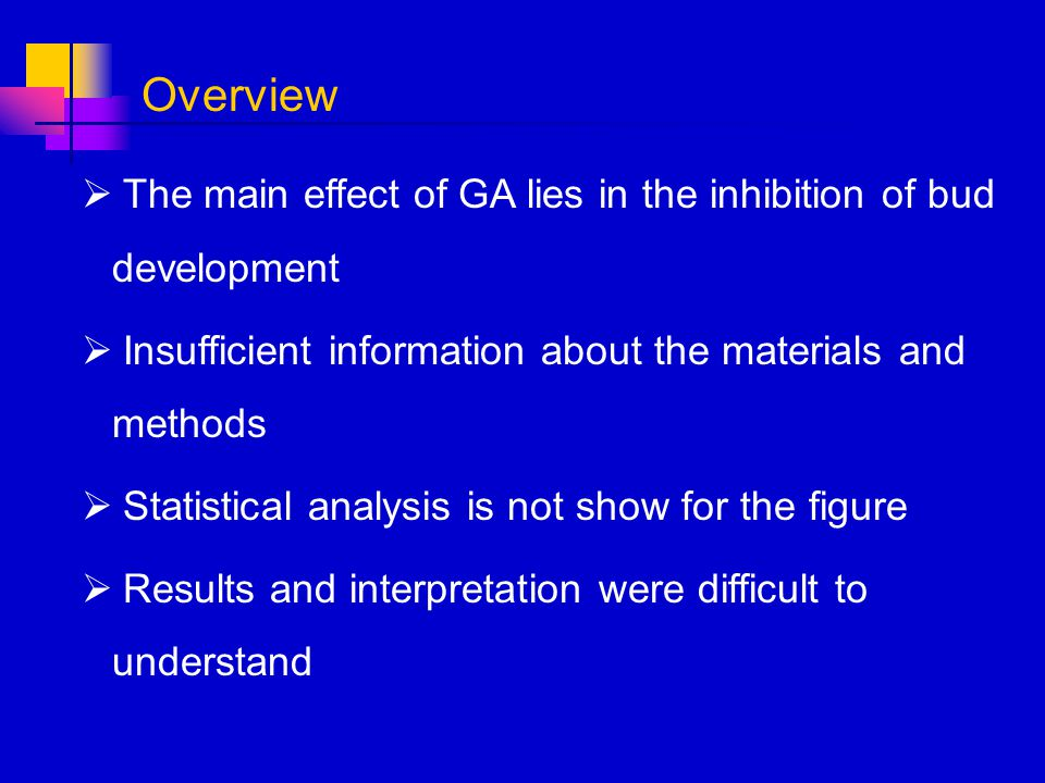 Overview The main effect of GA lies in the inhibition of bud development. Insufficient information about the materials and methods.