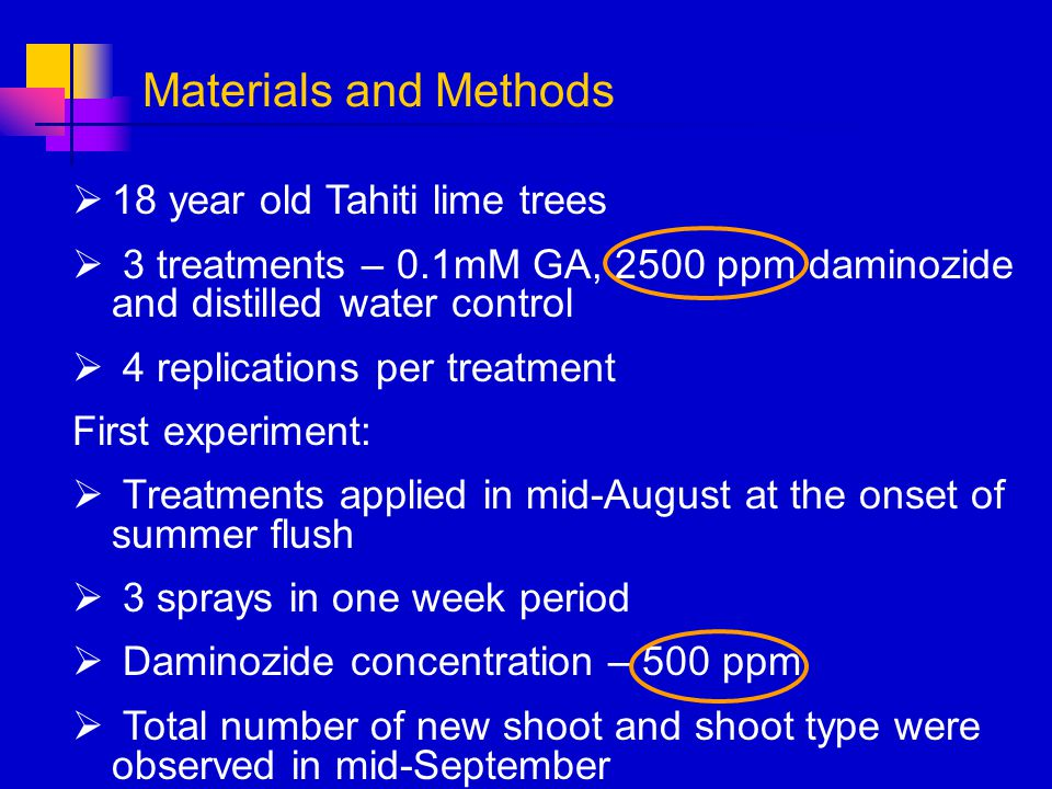 Materials and Methods 18 year old Tahiti lime trees