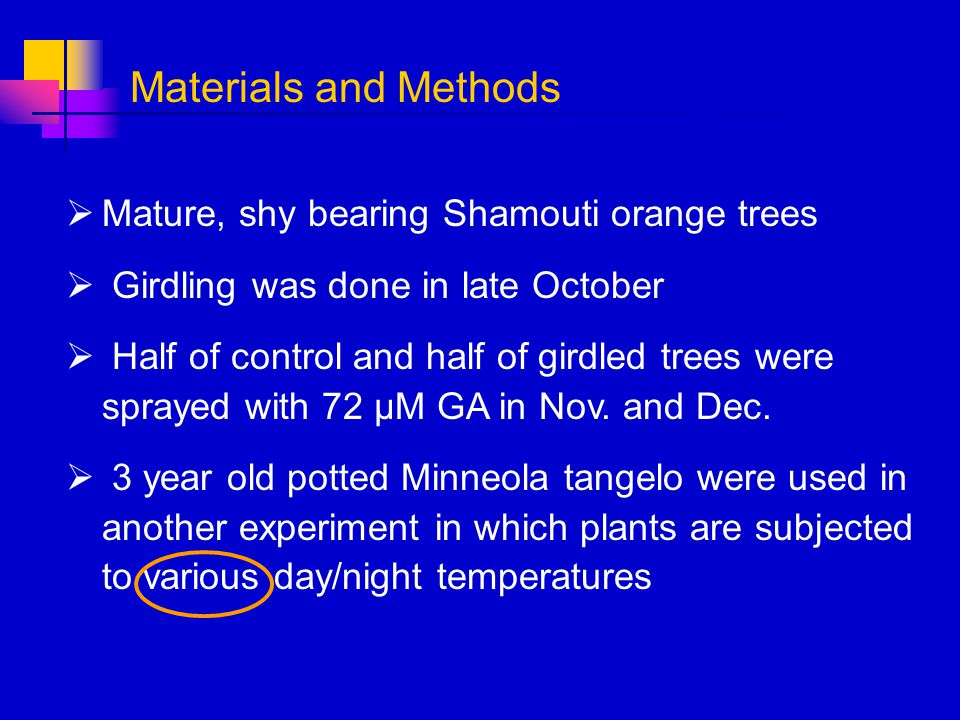 Materials and Methods Mature, shy bearing Shamouti orange trees