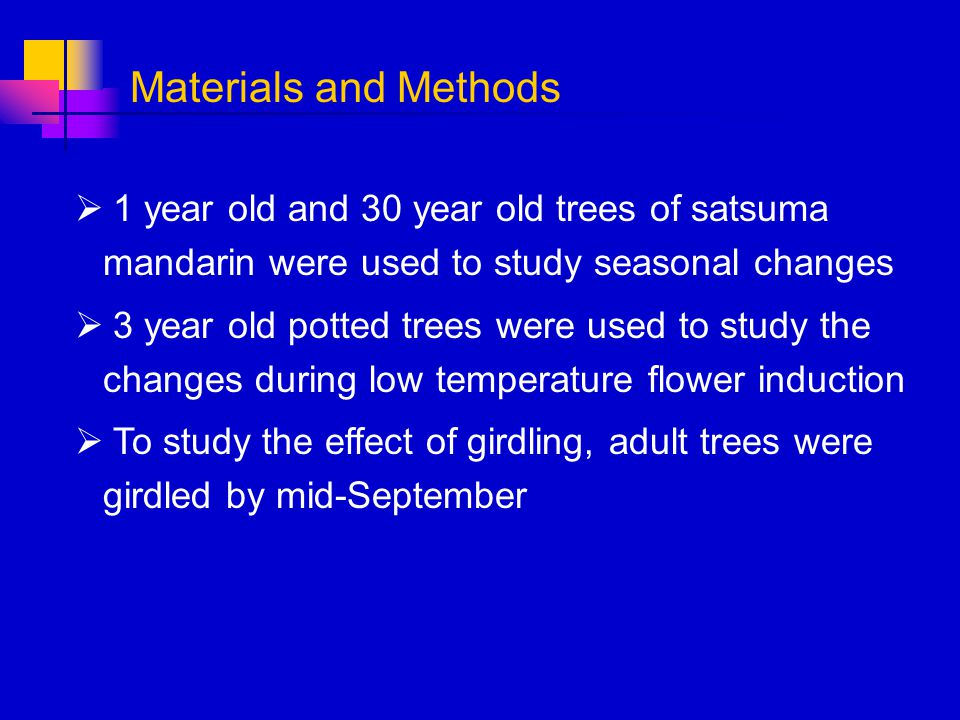 Materials and Methods 1 year old and 30 year old trees of satsuma mandarin were used to study seasonal changes.
