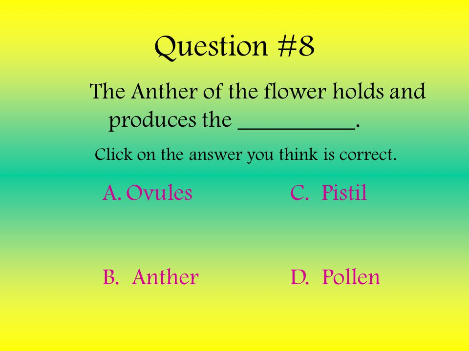 The Anther of the flower holds and produces the __________.