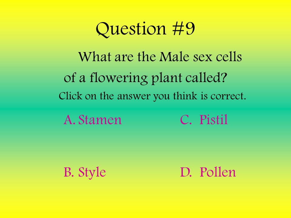 Question #9 What are the Male sex cells of a flowering plant called