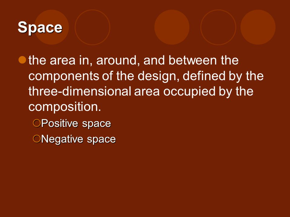 Space the area in, around, and between the components of the design, defined by the three-dimensional area occupied by the composition.