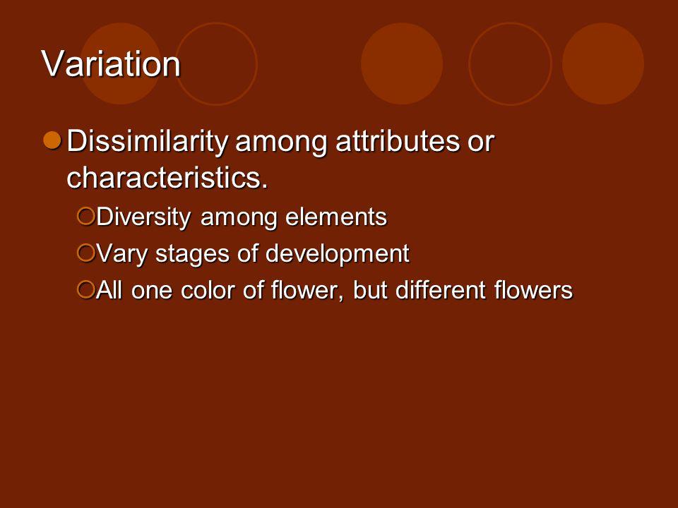 Variation Dissimilarity among attributes or characteristics.