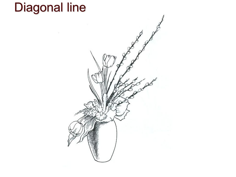 Diagonal lineDynamically energetic, suggest motion