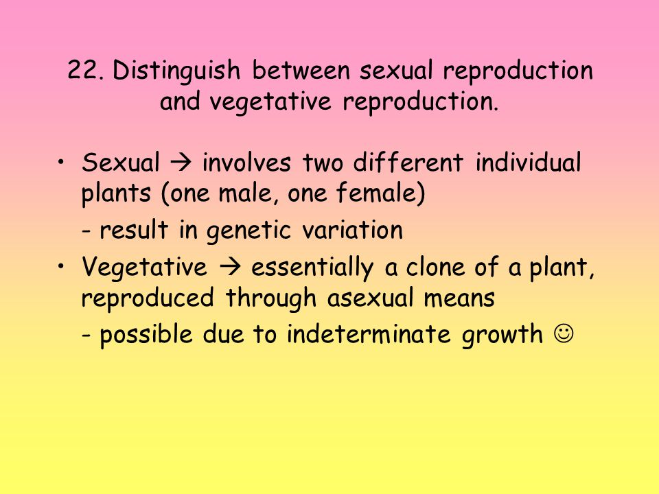 22. Distinguish between sexual reproduction and vegetative reproduction.