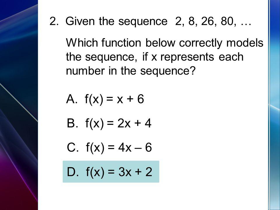 A. f(x) = x + 6 B. f(x) = 2x + 4 C. f(x) = 4x – 6 D. f(x) = 3x + 2