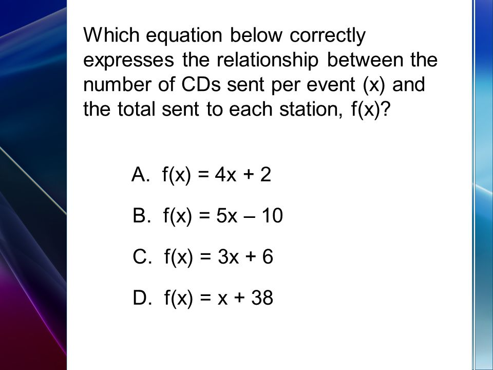 Which equation below correctly expresses the relationship between the number of CDs sent per event (x) and the total sent to each station, f(x)