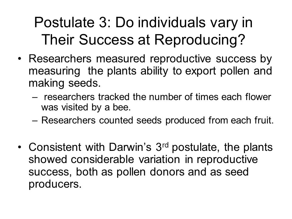 Postulate 3: Do individuals vary in Their Success at Reproducing