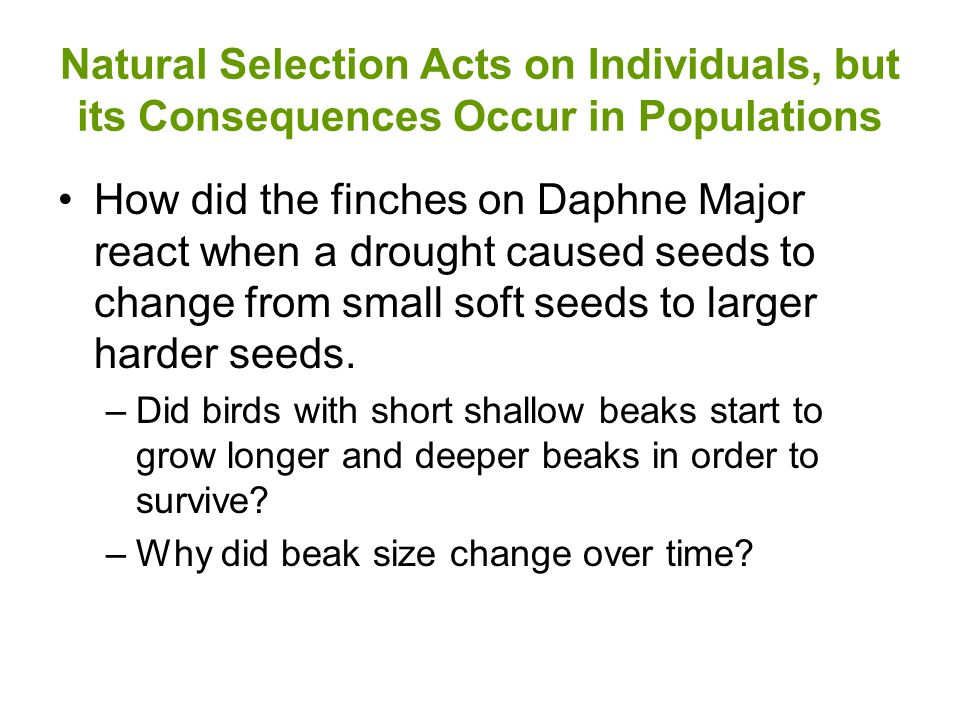 Natural Selection Acts on Individuals, but its Consequences Occur in Populations