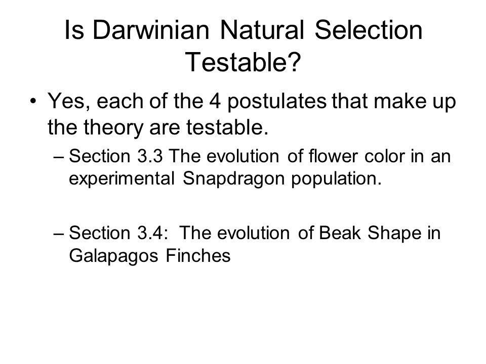 Is Darwinian Natural Selection Testable