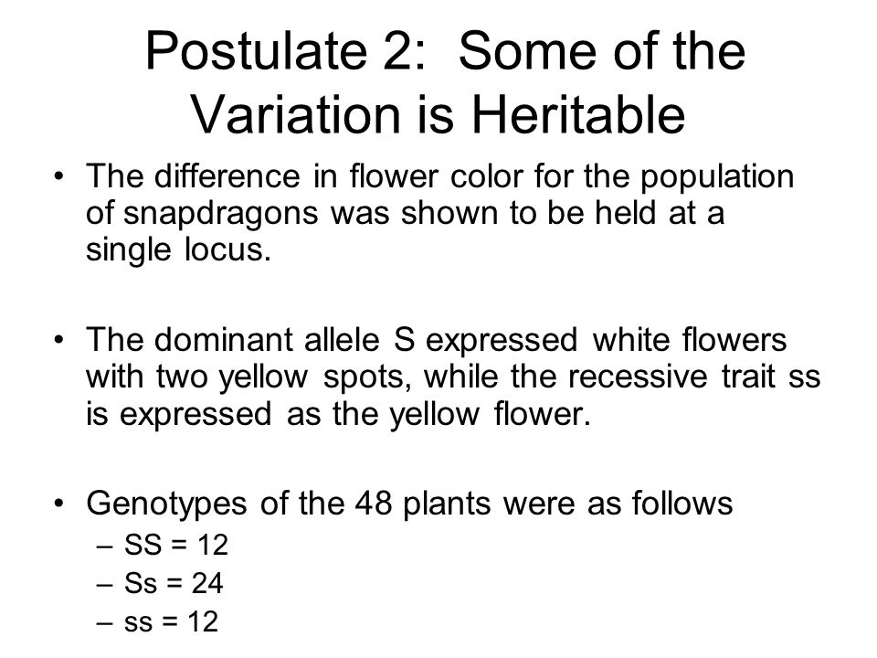 Postulate 2: Some of the Variation is Heritable