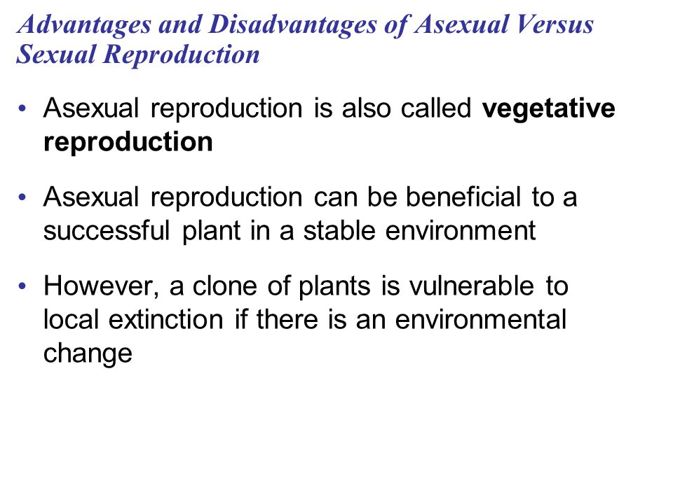 Advantages and Disadvantages of Asexual Versus Sexual Reproduction