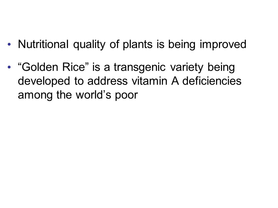 Nutritional quality of plants is being improved