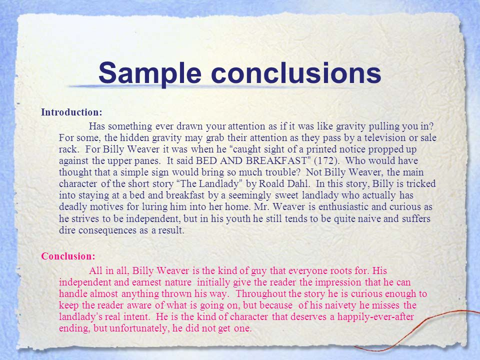 Sample conclusions Introduction: