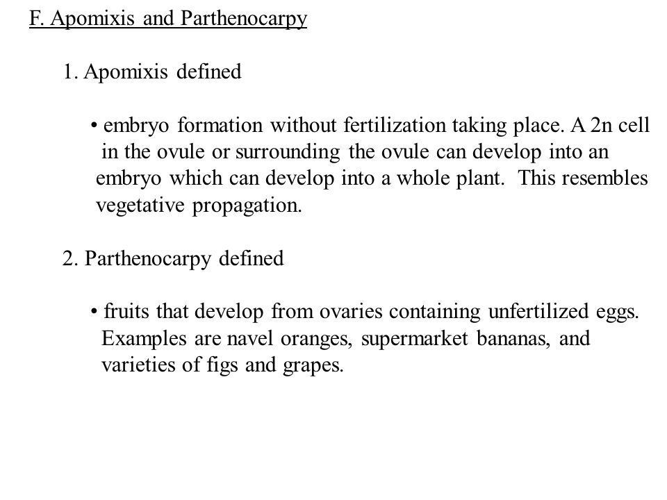 F. Apomixis and Parthenocarpy