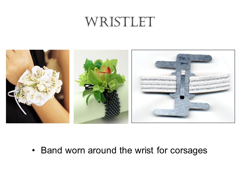Band worn around the wrist for corsages