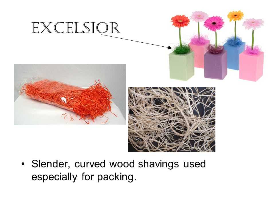 Excelsior Slender, curved wood shavings used especially for packing.