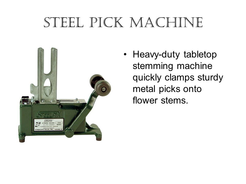 Steel Pick Machine Heavy-duty tabletop stemming machine quickly clamps sturdy metal picks onto flower stems.