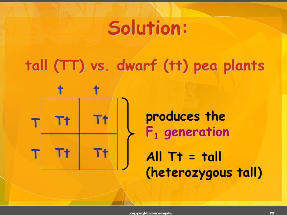 tall (TT) vs. dwarf (tt) pea plants