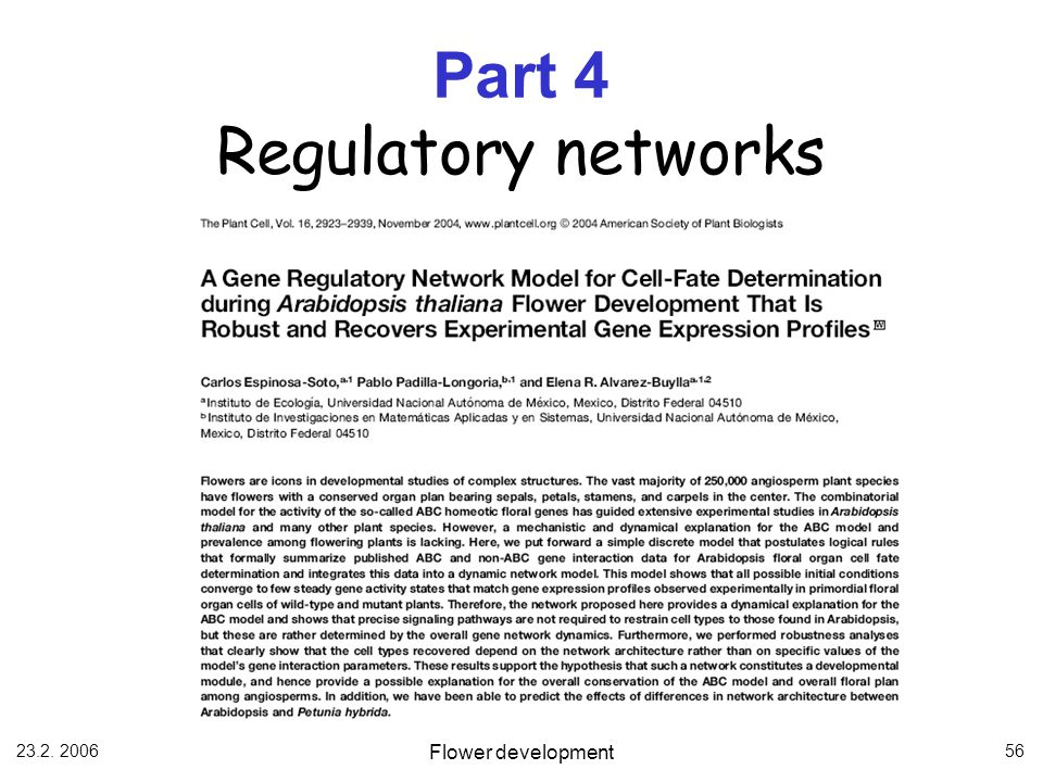 Part 4 Regulatory networks