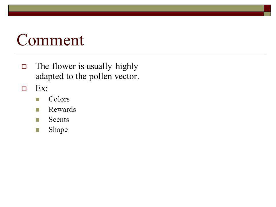 Comment The flower is usually highly adapted to the pollen vector. Ex: