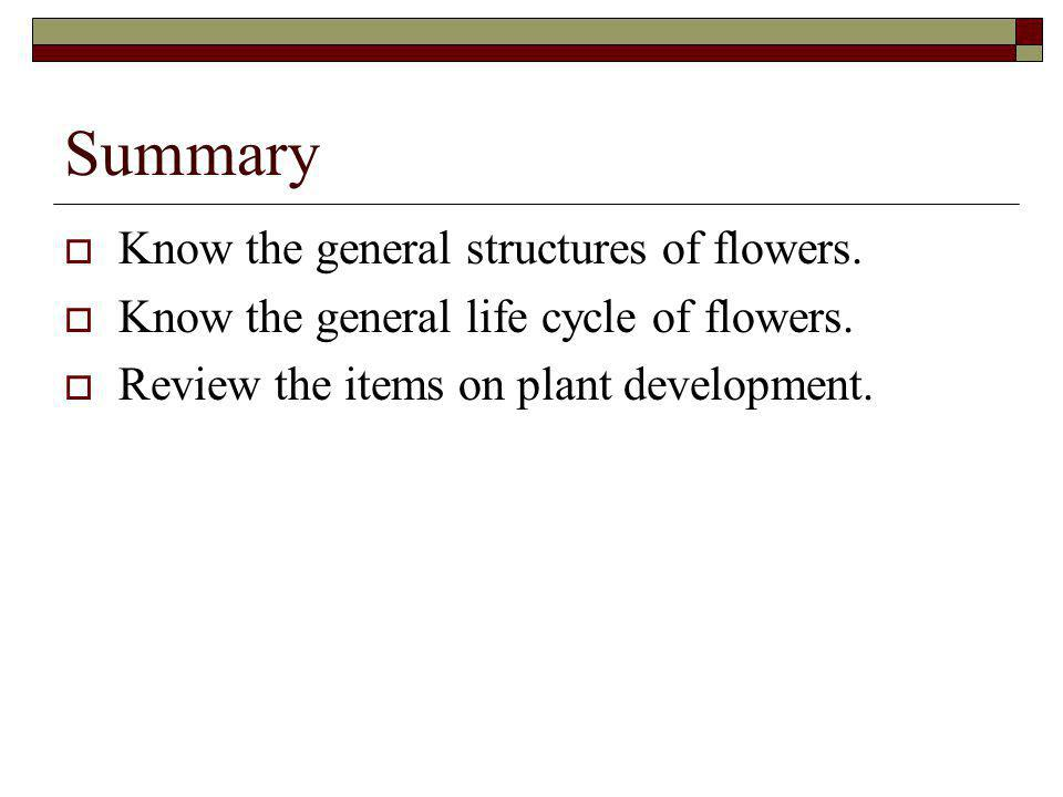 Summary Know the general structures of flowers.