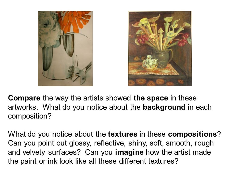 Compare the way the artists showed the space in these