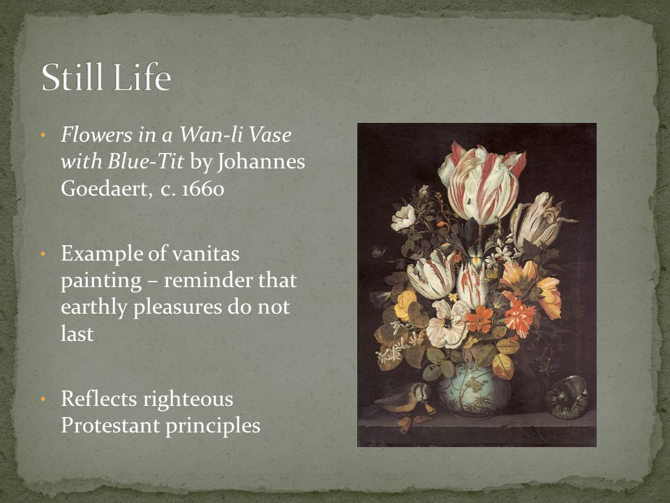 Still Life Flowers in a Wan-li Vase with Blue-Tit by Johannes Goedaert, c. 1660.
