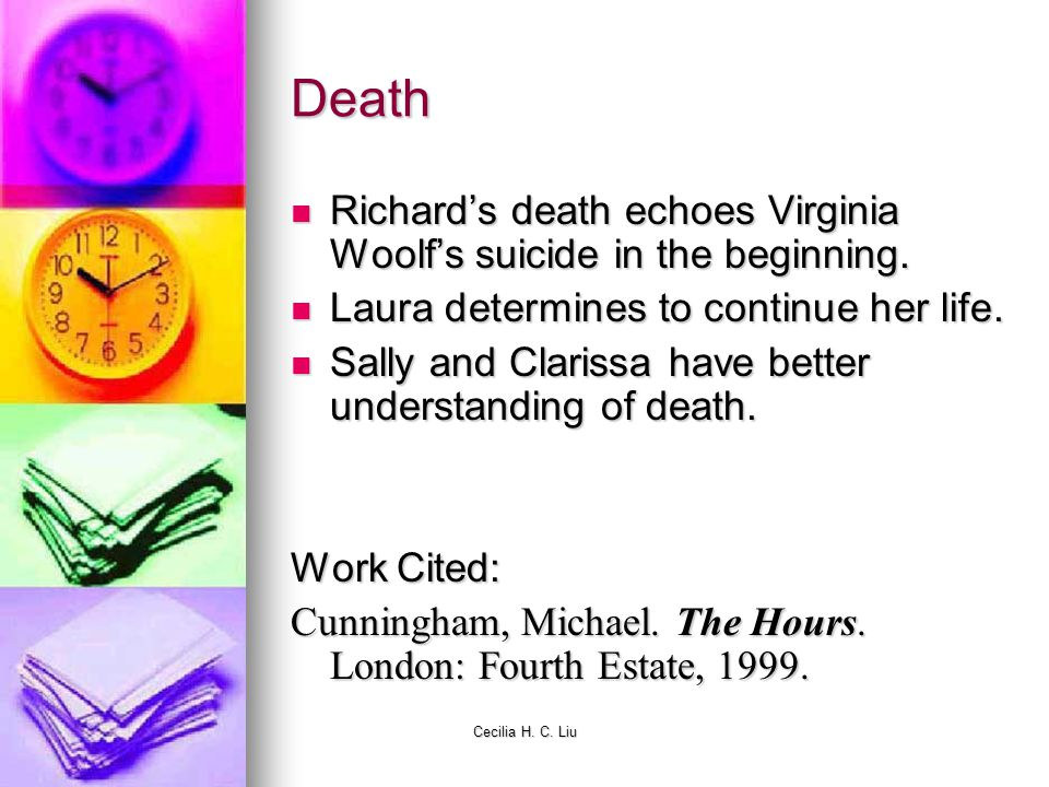 Death Richard's death echoes Virginia Woolf's suicide in the beginning. Laura determines to continue her life.