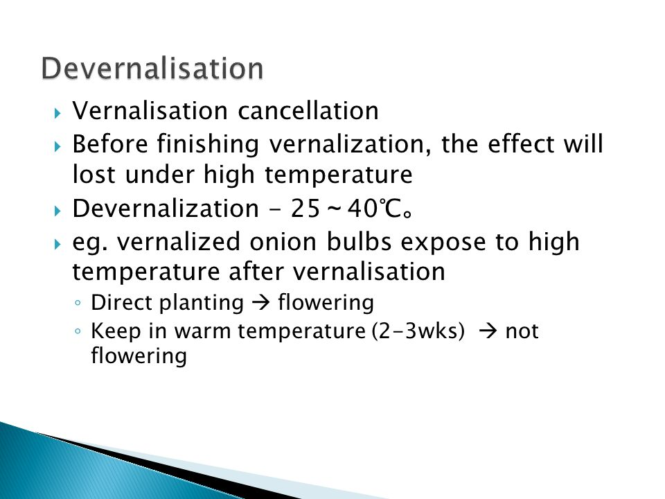 Devernalisation Vernalisation cancellation
