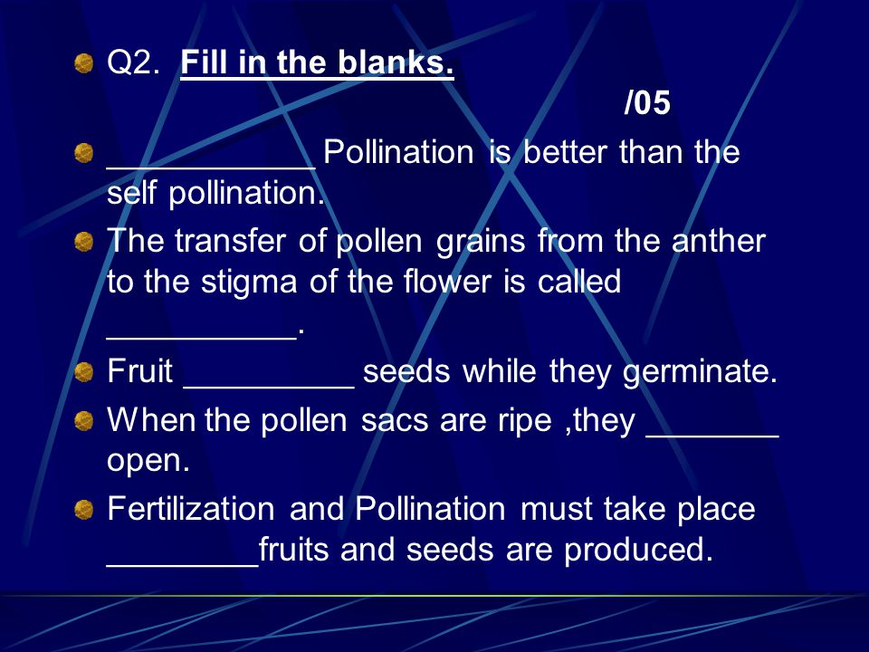 Q2. Fill in the blanks. /05 ___________ Pollination is better than the self pollination.