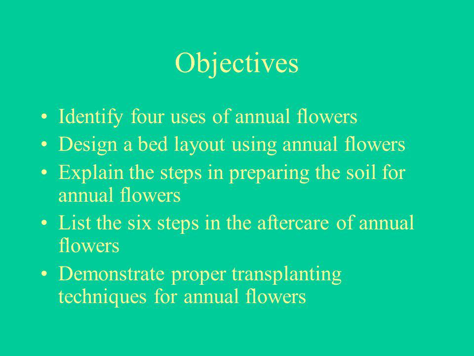Objectives Identify four uses of annual flowers