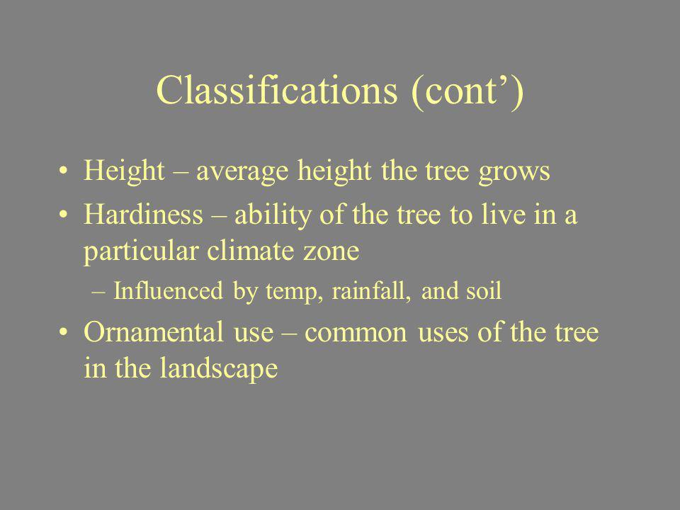 Classifications (cont')