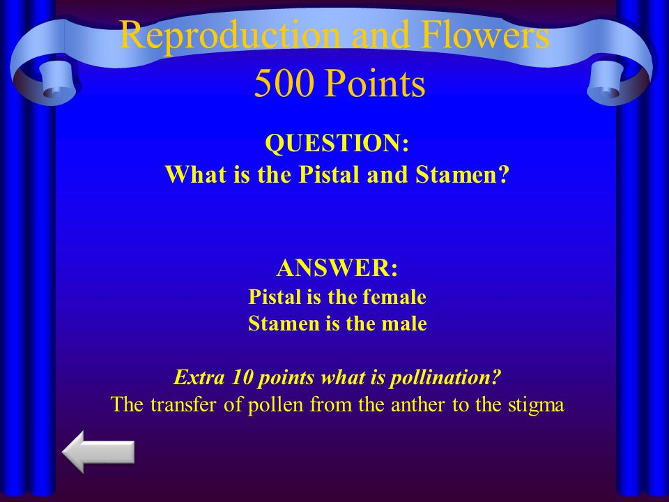 Reproduction and Flowers 500 Points