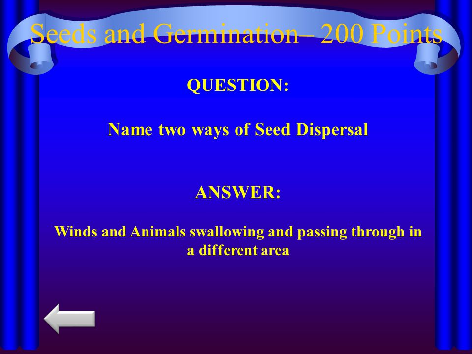 Seeds and Germination– 200 Points